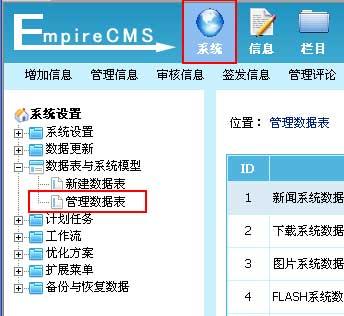 帝国CMS管理数据表如何设置 第2张